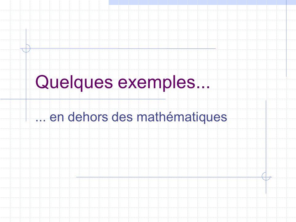 Quelques exemples...... en dehors des mathématiques