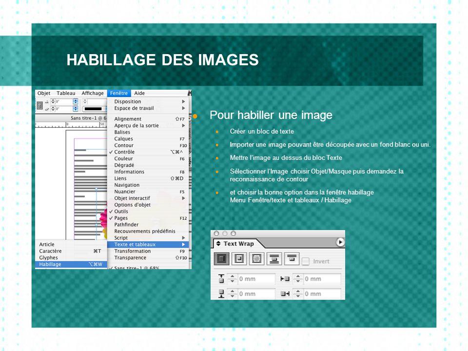 HABILLAGE DES IMAGES  Pour habiller une image  Créer un bloc de texte  Importer une image pouvant être découpée avec un fond blanc ou uni.