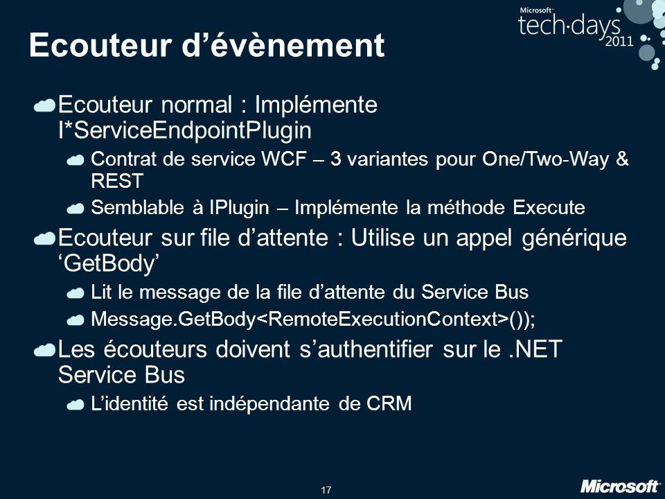 17 Ecouteur d'évènement Ecouteur normal : Implémente I*ServiceEndpointPlugin Contrat de service WCF – 3 variantes pour One/Two-Way & REST Semblable à IPlugin – Implémente la méthode Execute Ecouteur sur file d'attente : Utilise un appel générique 'GetBody' Lit le message de la file d'attente du Service Bus Message.GetBody ()); Les écouteurs doivent s'authentifier sur le.NET Service Bus L'identité est indépendante de CRM
