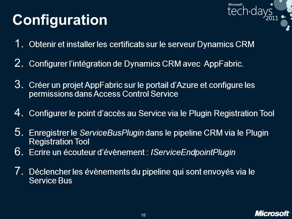 18 Configuration 1. Obtenir et installer les certificats sur le serveur Dynamics CRM 2.