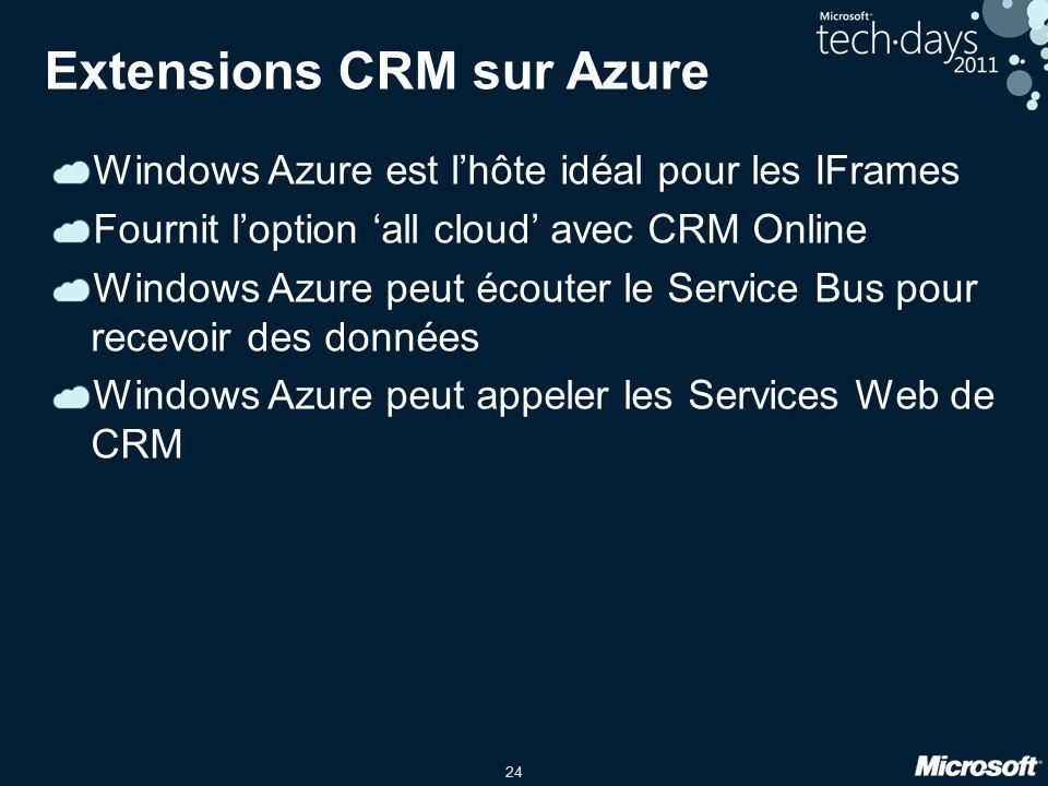 24 Extensions CRM sur Azure Windows Azure est l'hôte idéal pour les IFrames Fournit l'option 'all cloud' avec CRM Online Windows Azure peut écouter le Service Bus pour recevoir des données Windows Azure peut appeler les Services Web de CRM
