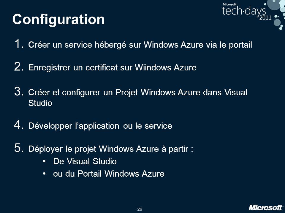 26 Configuration 1. Créer un service hébergé sur Windows Azure via le portail 2.