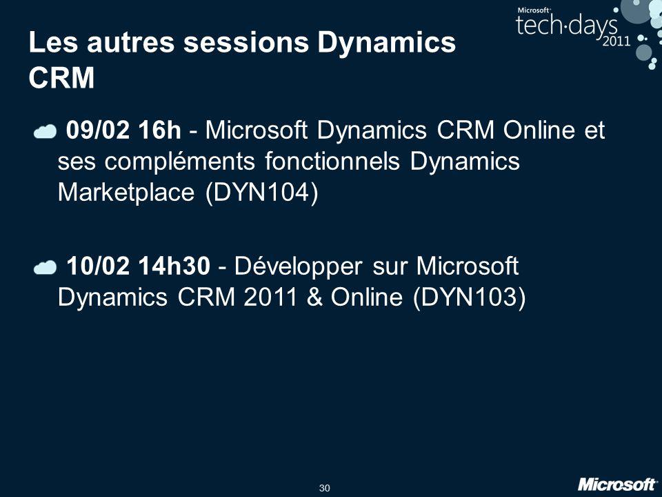 30 Les autres sessions Dynamics CRM 09/02 16h - Microsoft Dynamics CRM Online et ses compléments fonctionnels Dynamics Marketplace (DYN104) 10/02 14h30 - Développer sur Microsoft Dynamics CRM 2011 & Online (DYN103)