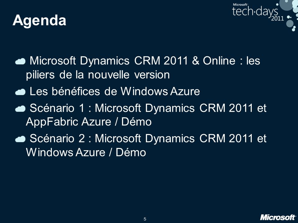 5 Agenda Microsoft Dynamics CRM 2011 & Online : les piliers de la nouvelle version Les bénéfices de Windows Azure Scénario 1 : Microsoft Dynamics CRM 2011 et AppFabric Azure / Démo Scénario 2 : Microsoft Dynamics CRM 2011 et Windows Azure / Démo