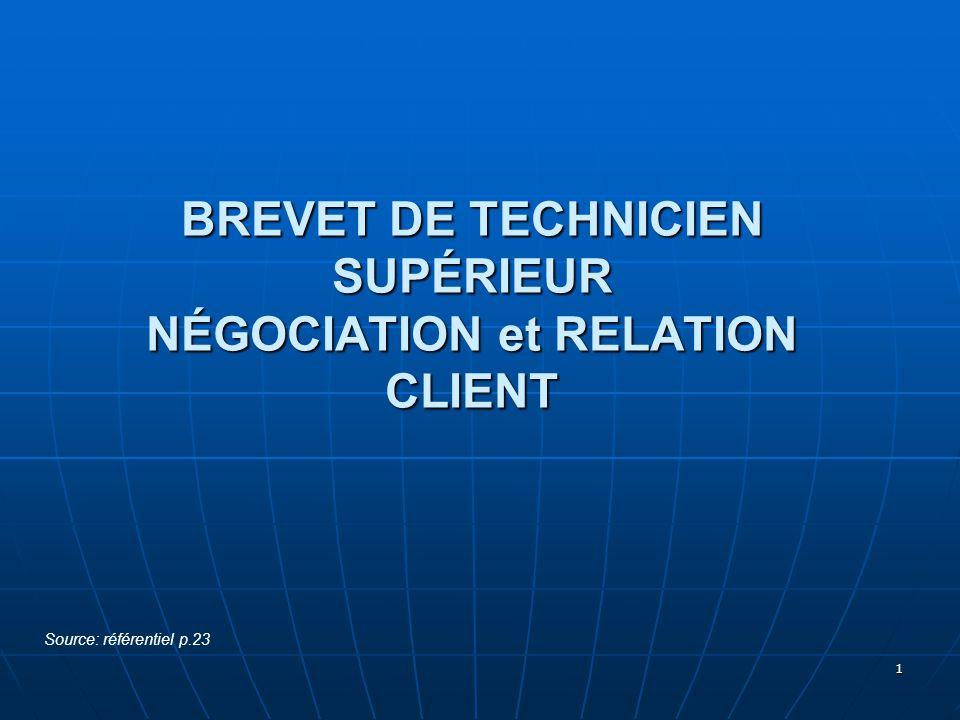 1 BREVET DE TECHNICIEN SUPÉRIEUR NÉGOCIATION et RELATION CLIENT Source: référentiel p.23