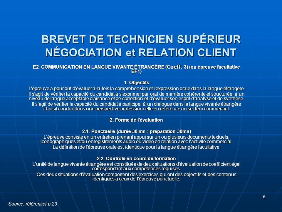 8 BREVET DE TECHNICIEN SUPÉRIEUR NÉGOCIATION et RELATION CLIENT E2 COMMUNICATION EN LANGUE VIVANTE ÉTRANGÈRE ( Coeff. 3) (ou épreuve facultative EF1)