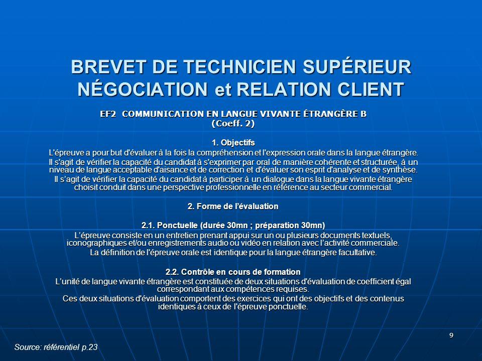 9 BREVET DE TECHNICIEN SUPÉRIEUR NÉGOCIATION et RELATION CLIENT EF2 COMMUNICATION EN LANGUE VIVANTE ÉTRANGÈRE B (Coeff. 2) 1. Objectifs L'épreuve a po