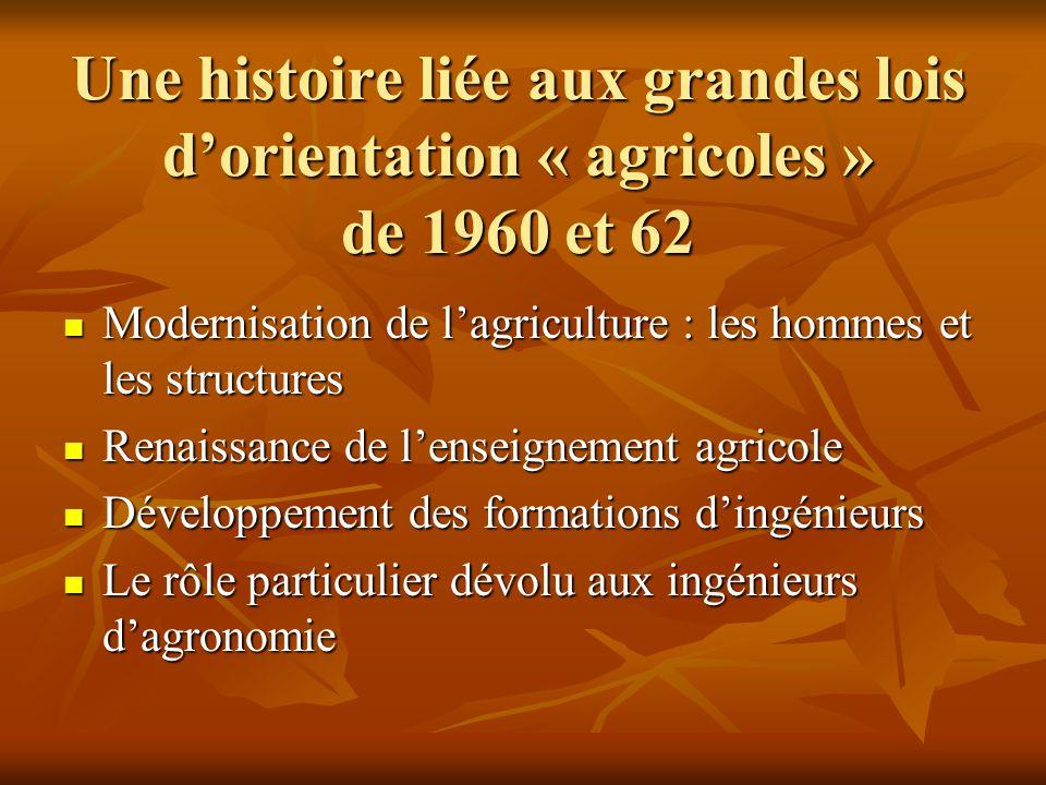 Une histoire liée aux grandes lois d'orientation « agricoles » de 1960 et 62 Une histoire liée aux grandes lois d'orientation « agricoles » de 1960 et
