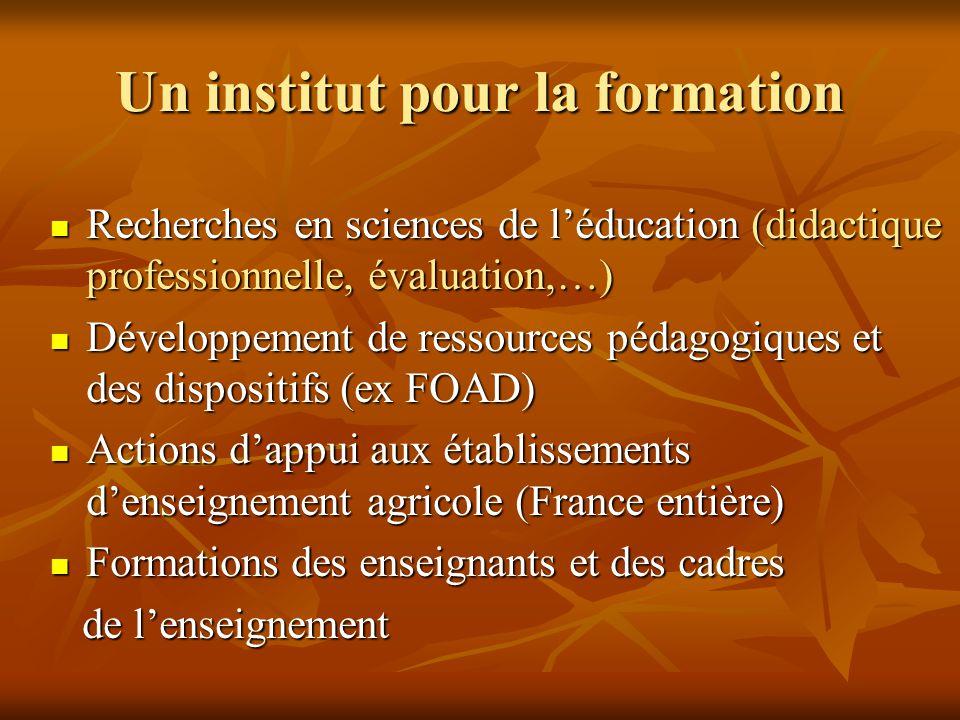 Un institut pour la formation  Recherches en sciences de l'éducation (didactique professionnelle, évaluation,…)  Développement de ressources pédagog
