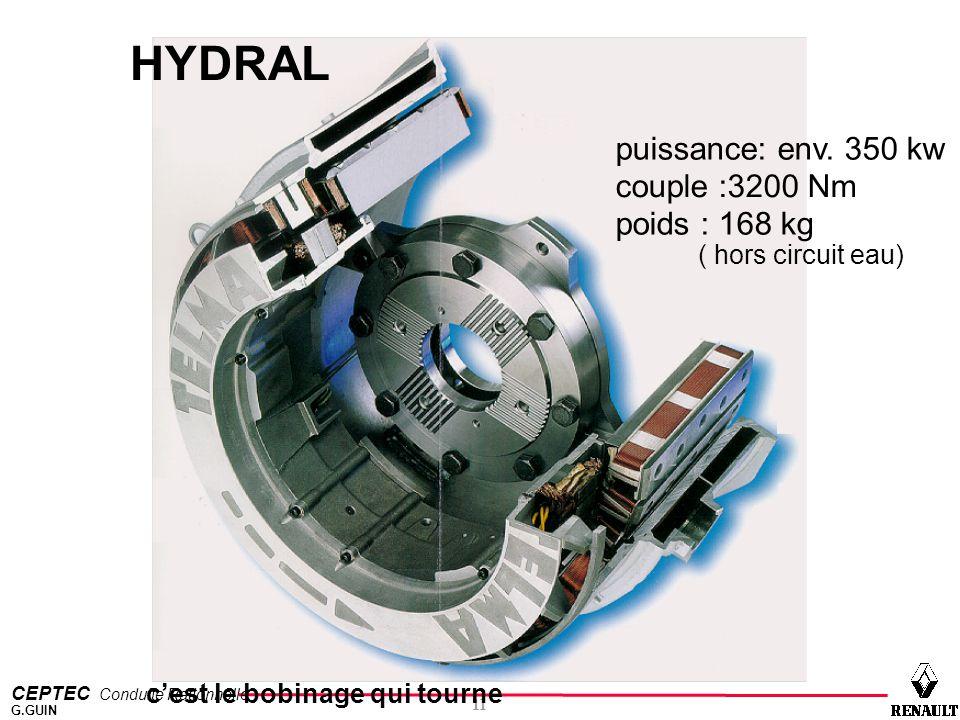 CEPTEC Conduite Rationnelle 11 G.GUIN puissance: env. 350 kw couple :3200 Nm poids : 168 kg c'est le bobinage qui tourne ( hors circuit eau) HYDRAL