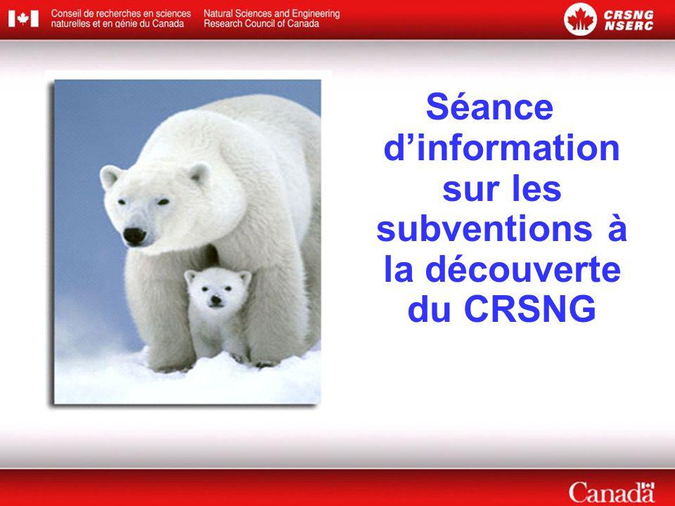 Séance d'information sur les subventions à la découverte du CRSNG
