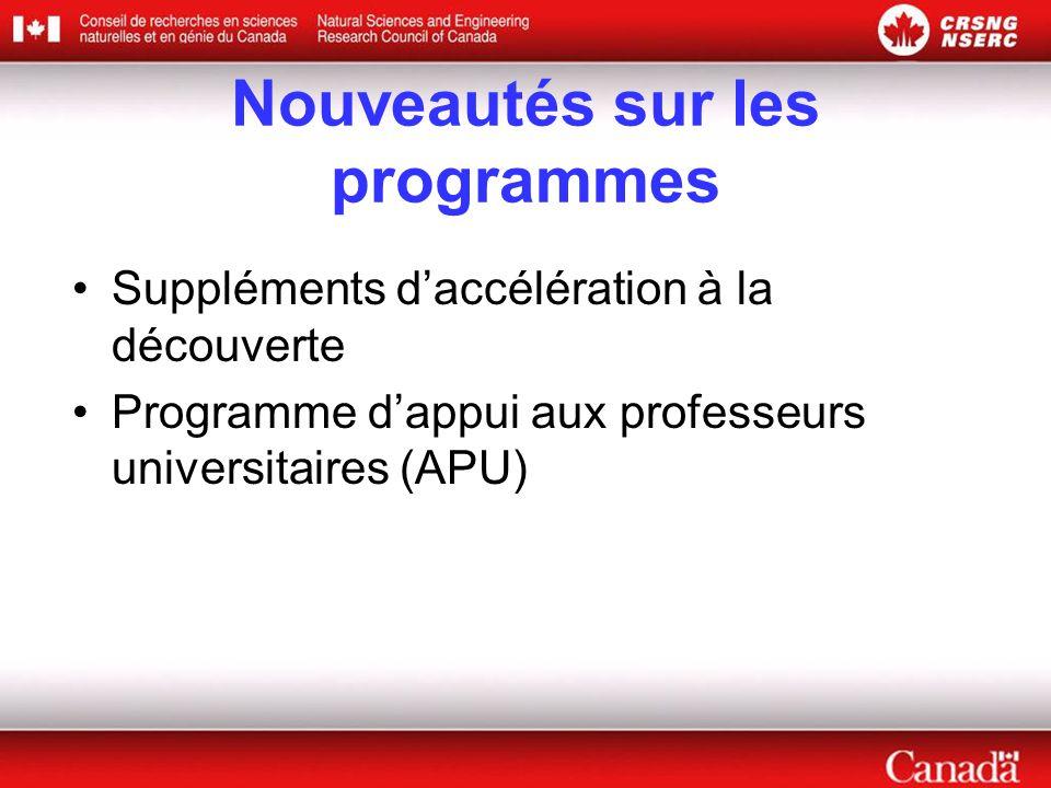 Nouveautés sur les programmes •Suppléments d'accélération à la découverte •Programme d'appui aux professeurs universitaires (APU)