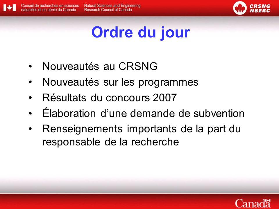 Ordre du jour •Nouveautés au CRSNG •Nouveautés sur les programmes •Résultats du concours 2007 •Élaboration d'une demande de subvention •Renseignements importants de la part du responsable de la recherche