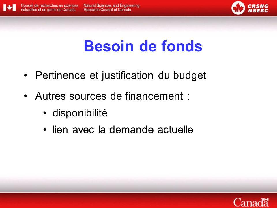 Besoin de fonds •Pertinence et justification du budget •Autres sources de financement : •disponibilité •lien avec la demande actuelle