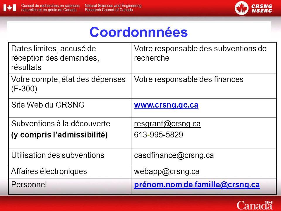 Dates limites, accusé de réception des demandes, résultats Votre responsable des subventions de recherche Votre compte, état des dépenses (F-300) Votre responsable des finances Site Web du CRSNGwww.crsng.gc.ca Subventions à la découverte (y compris l'admissibilité) resgrant@crsng.ca 613-995-5829 Utilisation des subventionscasdfinance@crsng.ca Affaires électroniqueswebapp@crsng.ca Personnelprénom.nom de famille@crsng.ca Coordonnnées