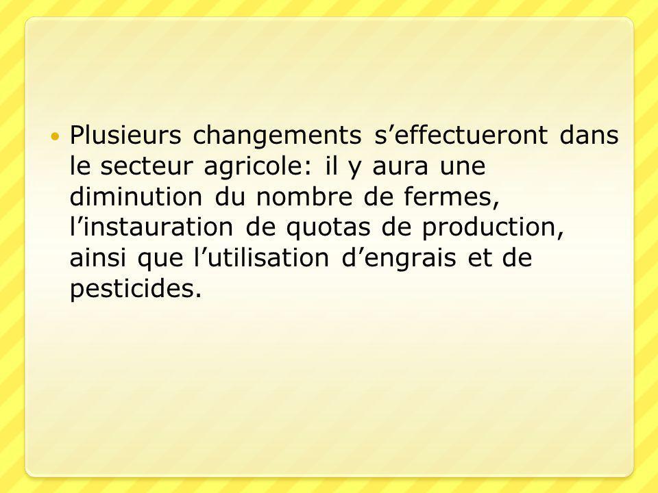  Plusieurs changements s'effectueront dans le secteur agricole: il y aura une diminution du nombre de fermes, l'instauration de quotas de production, ainsi que l'utilisation d'engrais et de pesticides.