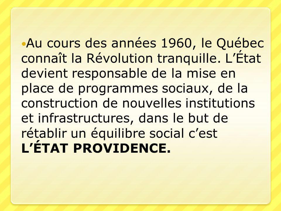  Au cours des années 1960, le Québec connaît la Révolution tranquille. L'État devient responsable de la mise en place de programmes sociaux, de la co