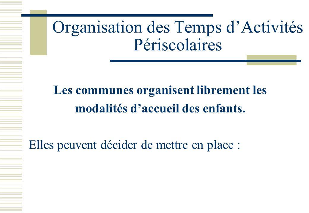 Organisation des Temps d'Activités Périscolaires Les communes organisent librement les modalités d'accueil des enfants.