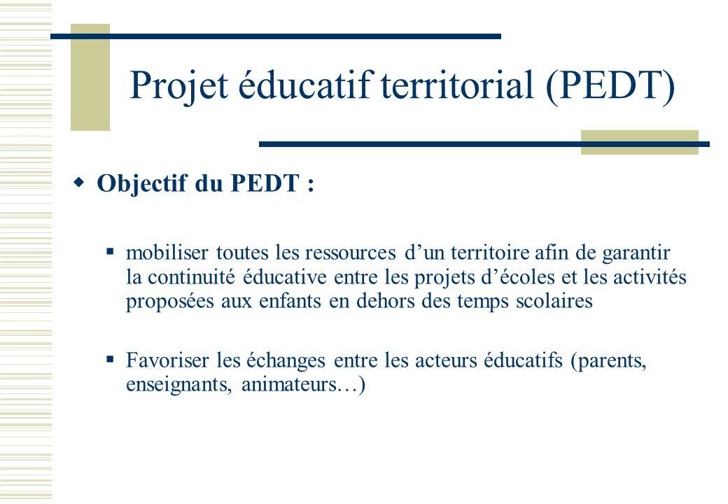 Projet éducatif territorial (PEDT)  Objectif du PEDT :  mobiliser toutes les ressources d'un territoire afin de garantir la continuité éducative entre les projets d'écoles et les activités proposées aux enfants en dehors des temps scolaires  Favoriser les échanges entre les acteurs éducatifs (parents, enseignants, animateurs…)