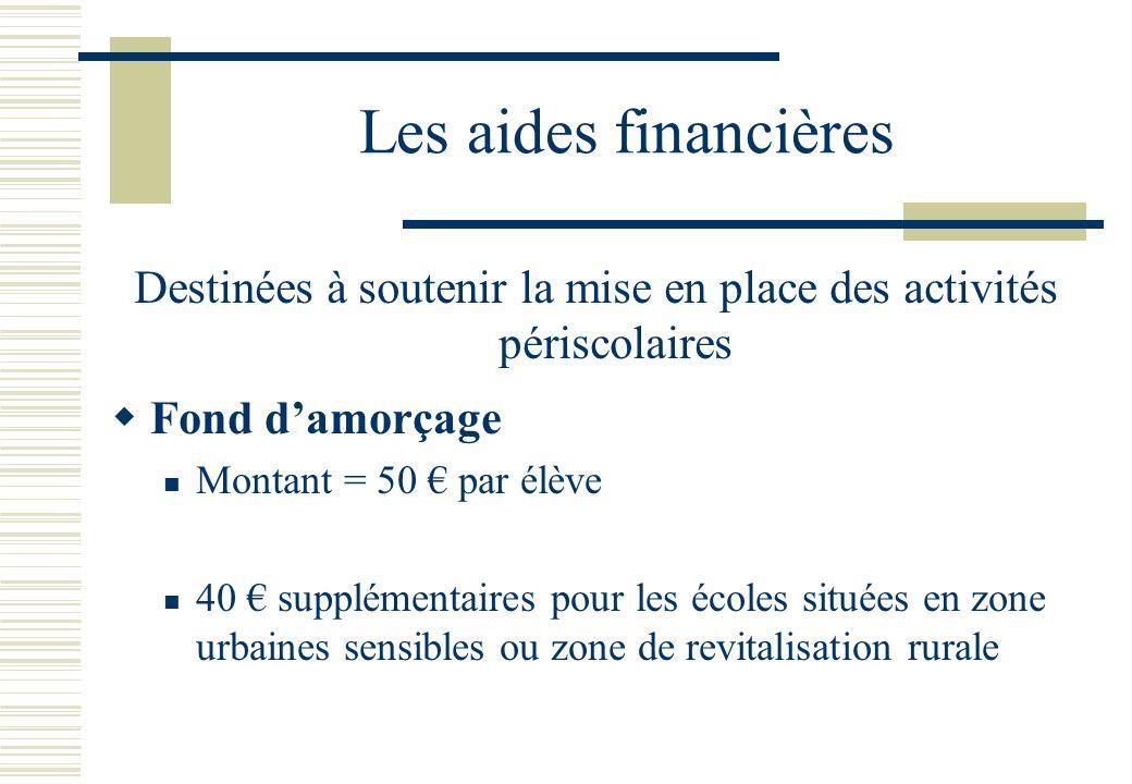Les aides financières  Fond d'amorçage  Montant = 50 € par élève  40 € supplémentaires pour les écoles situées en zone urbaines sensibles ou zone de revitalisation rurale Destinées à soutenir la mise en place des activités périscolaires
