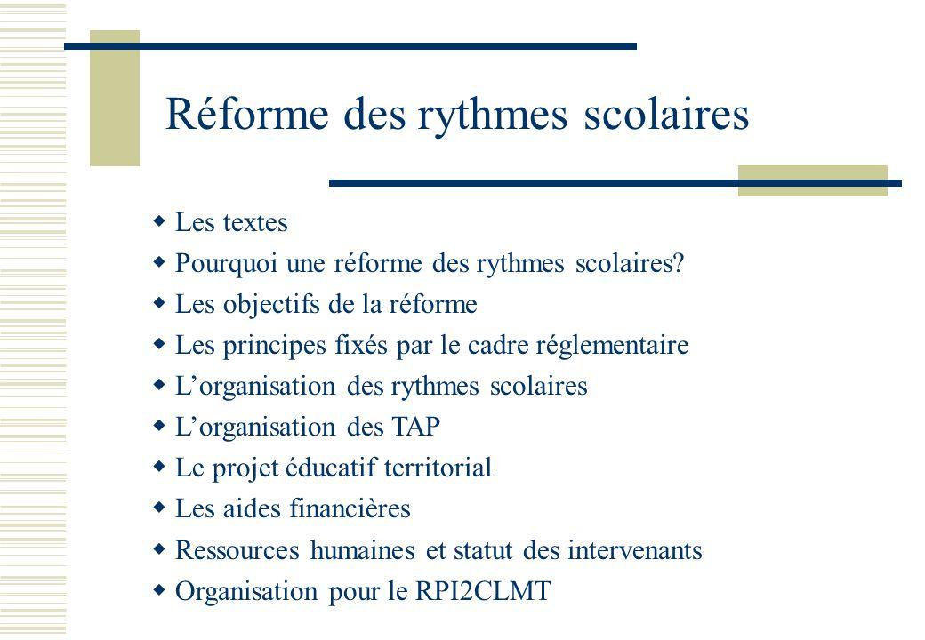 Les textes  Décret n° 2013 – 77 du 25 janvier 2013 Avec mise en vigueur rentrée 2013 2014 Objet : modification des rythmes scolaire dans l'enseignement du 1er degré