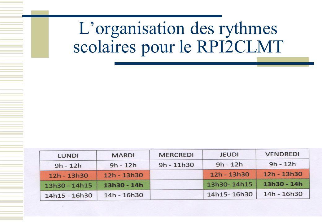 L'organisation des rythmes scolaires pour le RPI2CLMT