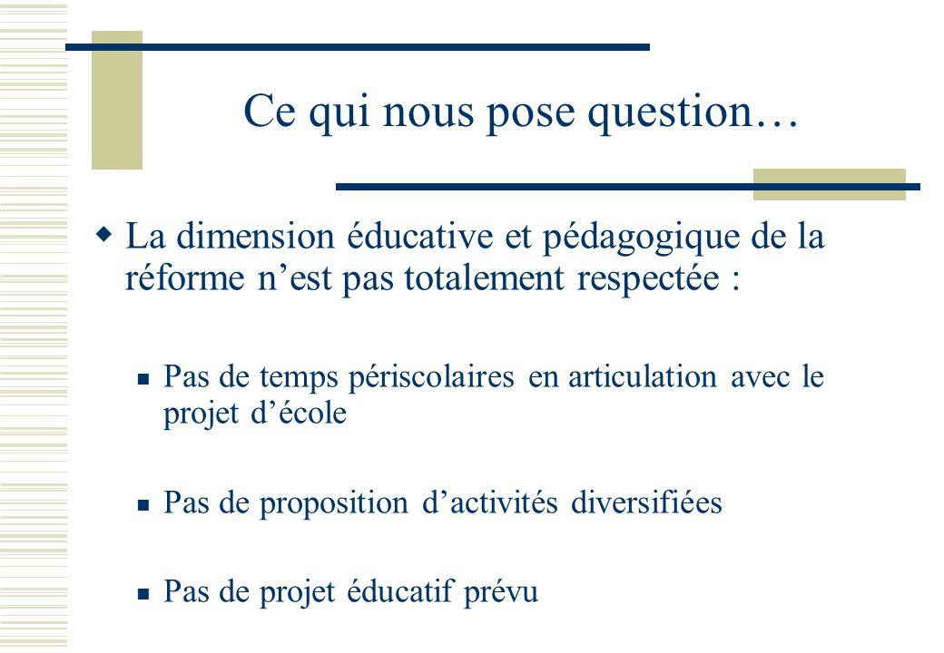 Ce qui nous pose question…  La dimension éducative et pédagogique de la réforme n'est pas totalement respectée :  Pas de temps périscolaires en articulation avec le projet d'école  Pas de proposition d'activités diversifiées  Pas de projet éducatif prévu