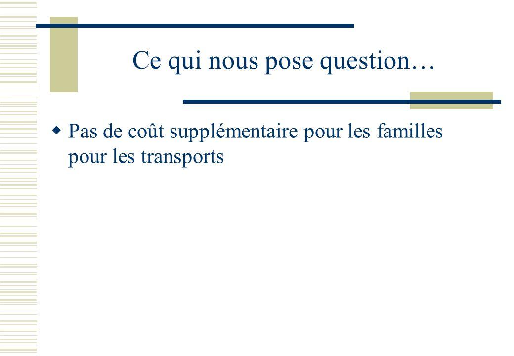 Ce qui nous pose question…  Pas de coût supplémentaire pour les familles pour les transports