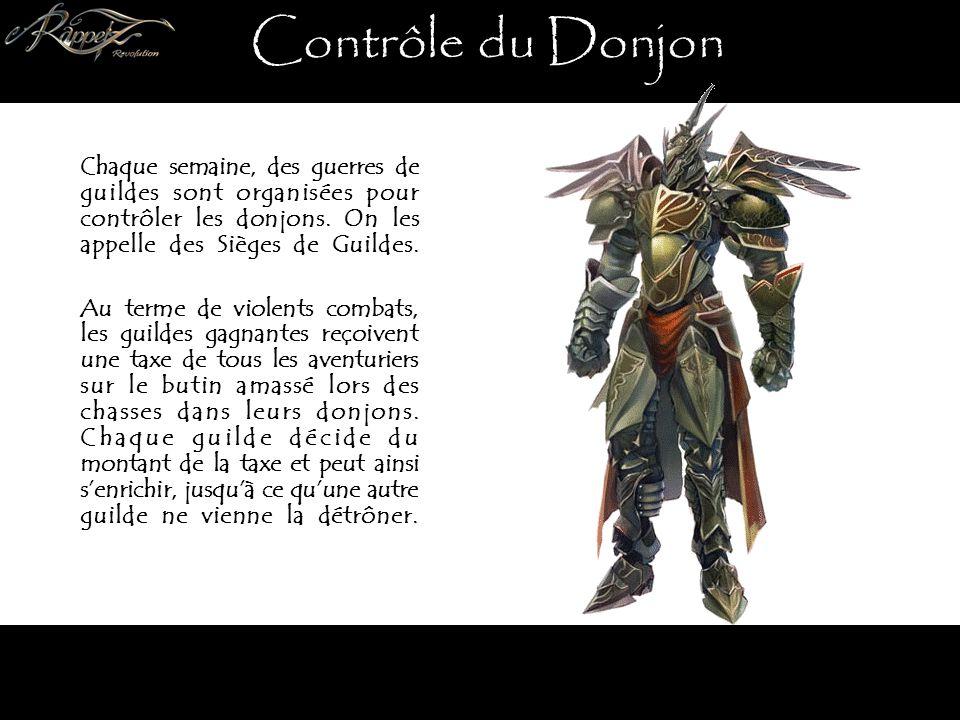 Contrôle du Donjon Chaque semaine, des guerres de guildes sont organisées pour contrôler les donjons.