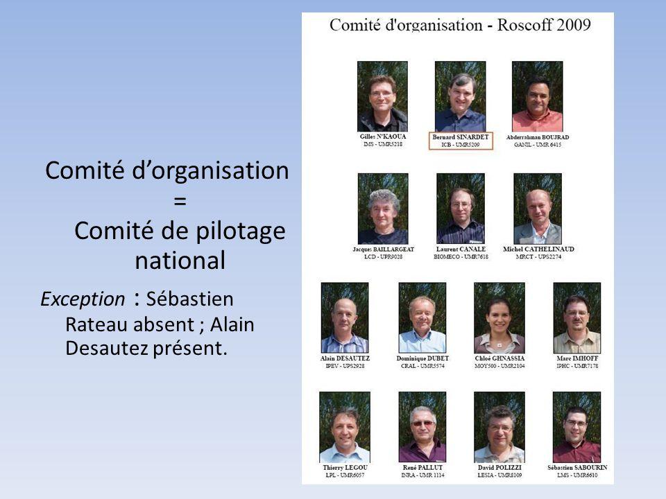 Comité d'organisation = Comité de pilotage national Exception : Sébastien Rateau absent ; Alain Desautez présent.