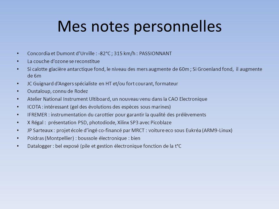 Mes notes personnelles • Concordia et Dumont d'Urville : -82°C ; 315 km/h : PASSIONNANT • La couche d'ozone se reconstitue • Si calotte glacière antar