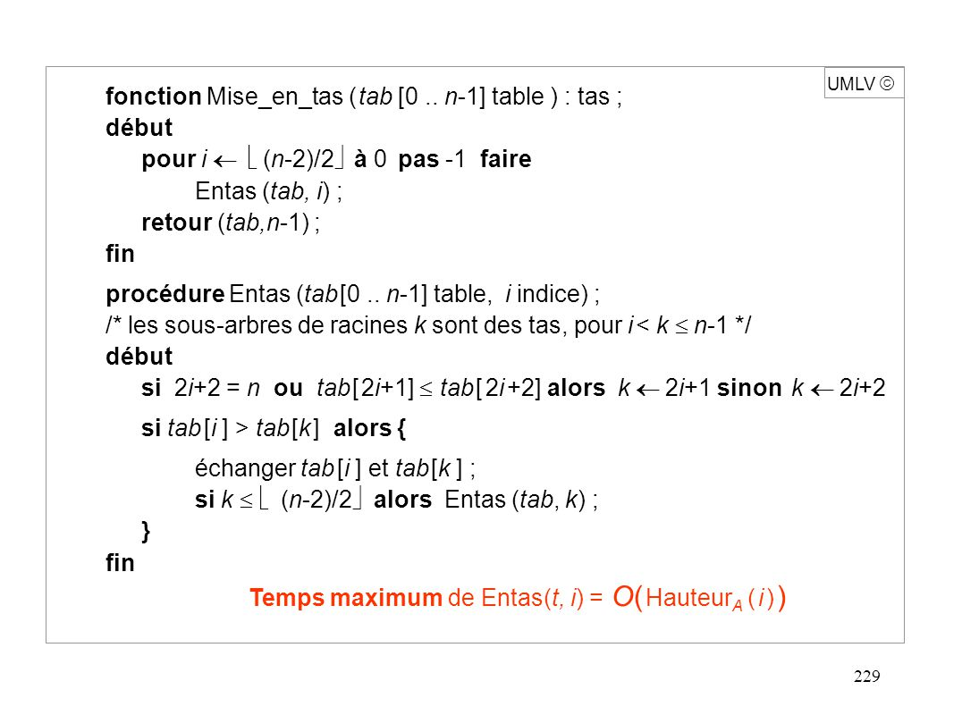 229 fonction Mise_en_tas ( tab [0..