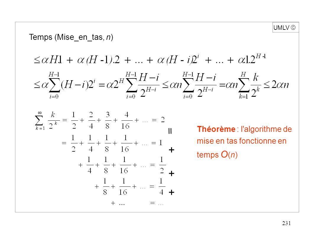 231 Temps (Mise_en_tas, n) Théorème : l algorithme de mise en tas fonctionne en temps O (n) UMLV  + + + 
