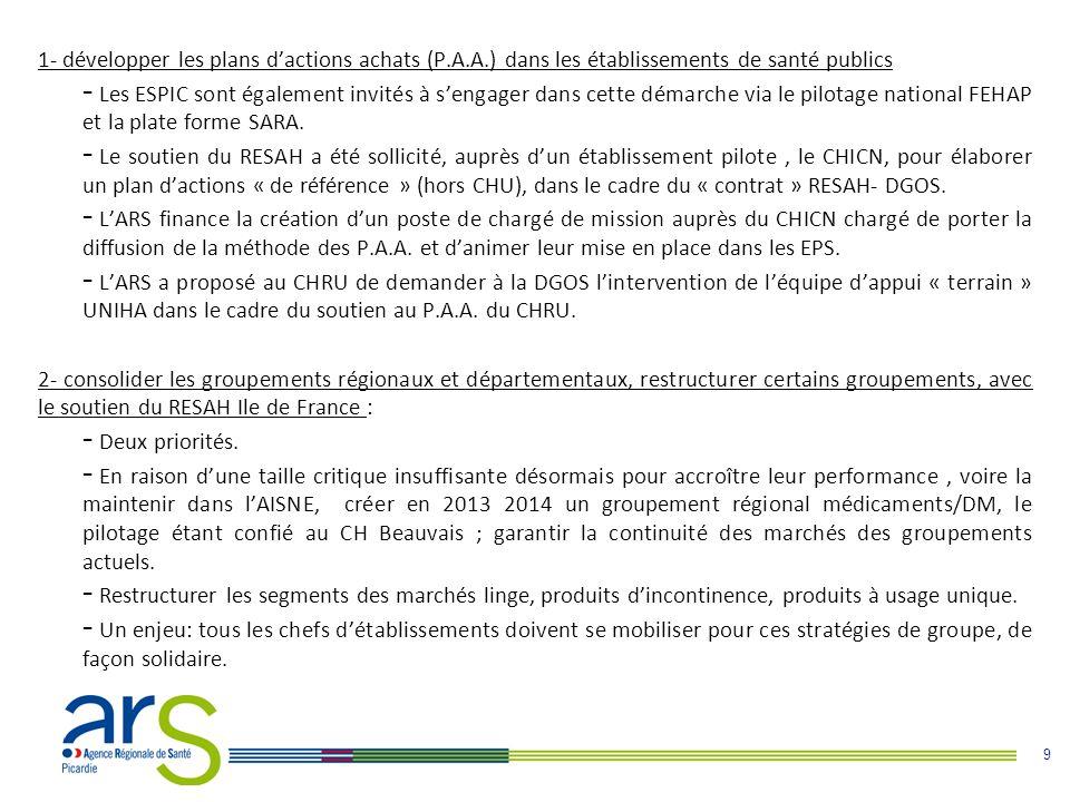 9 1- développer les plans d'actions achats (P.A.A.) dans les établissements de santé publics - Les ESPIC sont également invités à s'engager dans cette