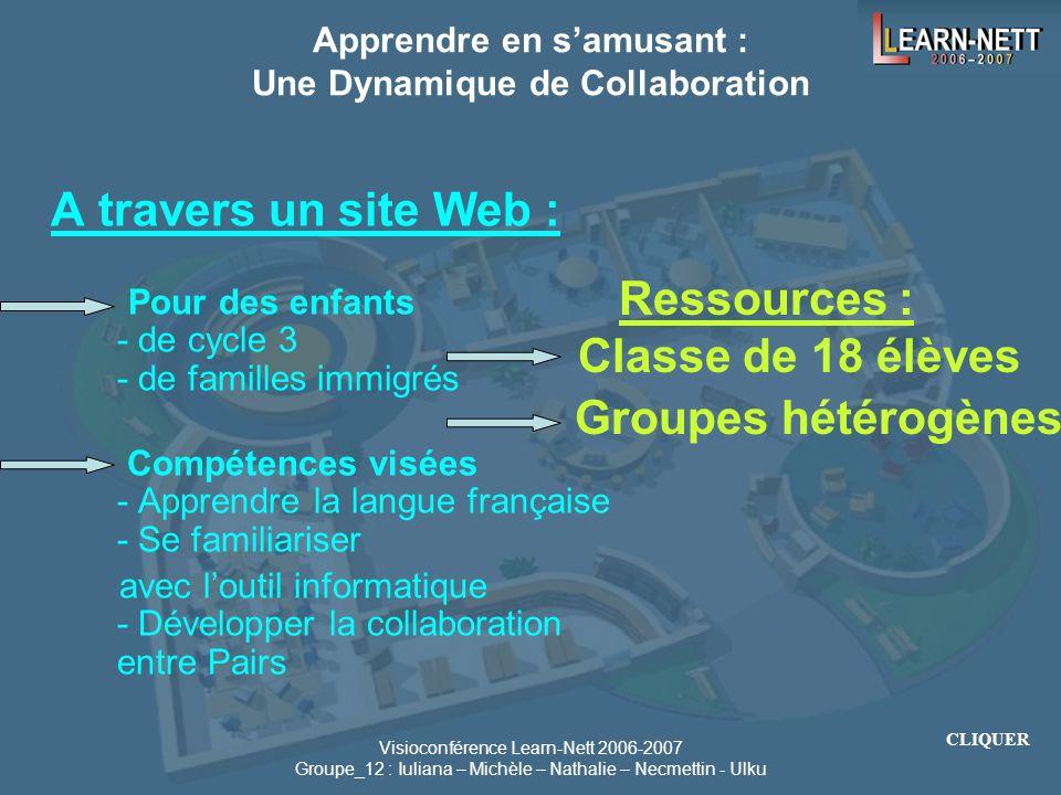 Visioconférence Learn-Nett 2006-2007 Groupe_12 : Iuliana – Michèle – Nathalie – Necmettin - Ulku Page d'accueil Pour les Visiteurs Pour le Professeur