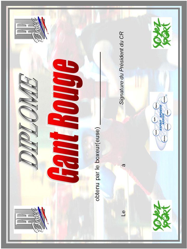 obtenu par le boxeur(euse) Leà Signature du Président du CR