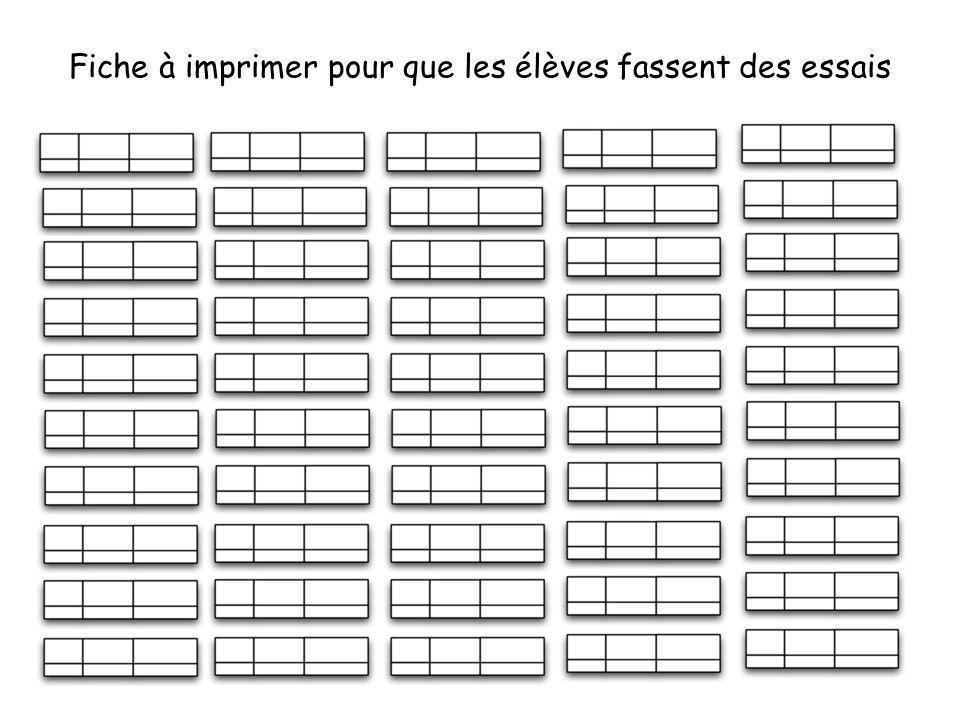 Fiche à imprimer pour que les élèves fassent des essais