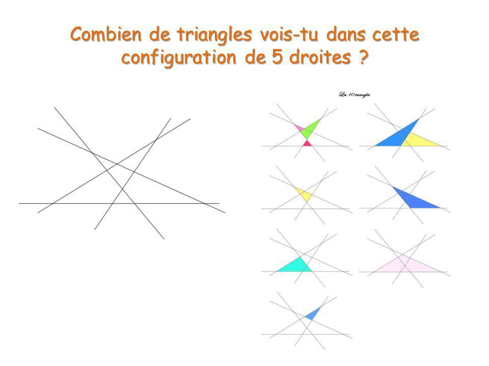 Combien de triangles vois-tu dans cette configuration de 5 droites ?