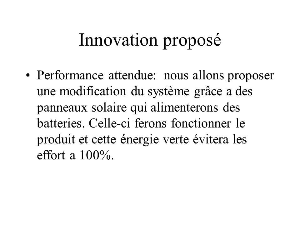 Innovation proposé •Performance attendue: nous allons proposer une modification du système grâce a des panneaux solaire qui alimenterons des batteries.