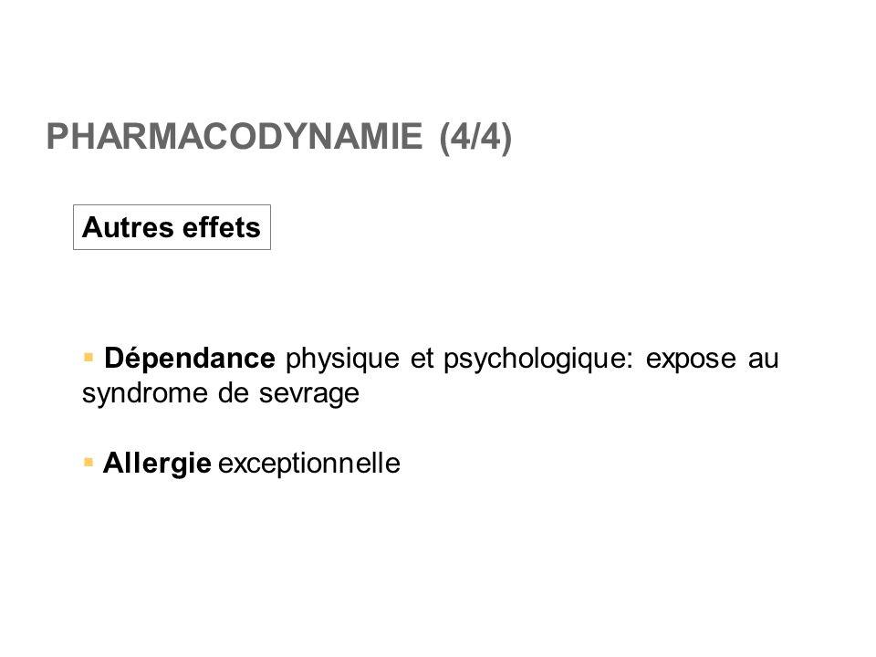 PHARMACODYNAMIE (4/4) Autres effets  Dépendance physique et psychologique: expose au syndrome de sevrage  Allergie exceptionnelle
