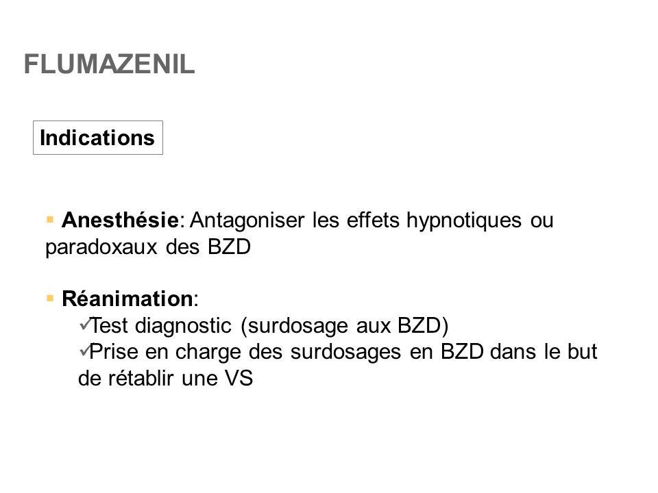 FLUMAZENIL Indications  Anesthésie: Antagoniser les effets hypnotiques ou paradoxaux des BZD  Réanimation:  Test diagnostic (surdosage aux BZD)  P