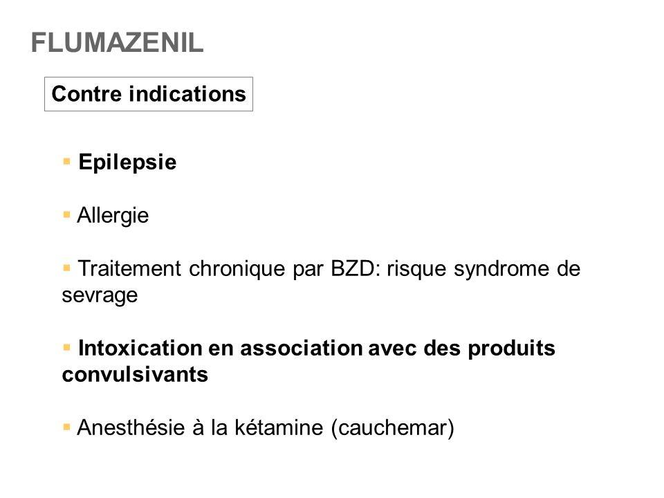 FLUMAZENIL Contre indications  Epilepsie  Allergie  Traitement chronique par BZD: risque syndrome de sevrage  Intoxication en association avec des