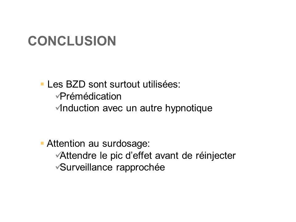 CONCLUSION  Les BZD sont surtout utilisées:  Prémédication  Induction avec un autre hypnotique  Attention au surdosage:  Attendre le pic d'effet