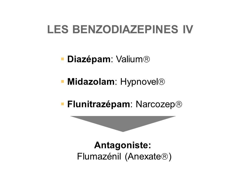 LES BENZODIAZEPINES IV  Diazépam: Valium   Midazolam: Hypnovel   Flunitrazépam: Narcozep  Antagoniste: Flumazénil (Anexate  )