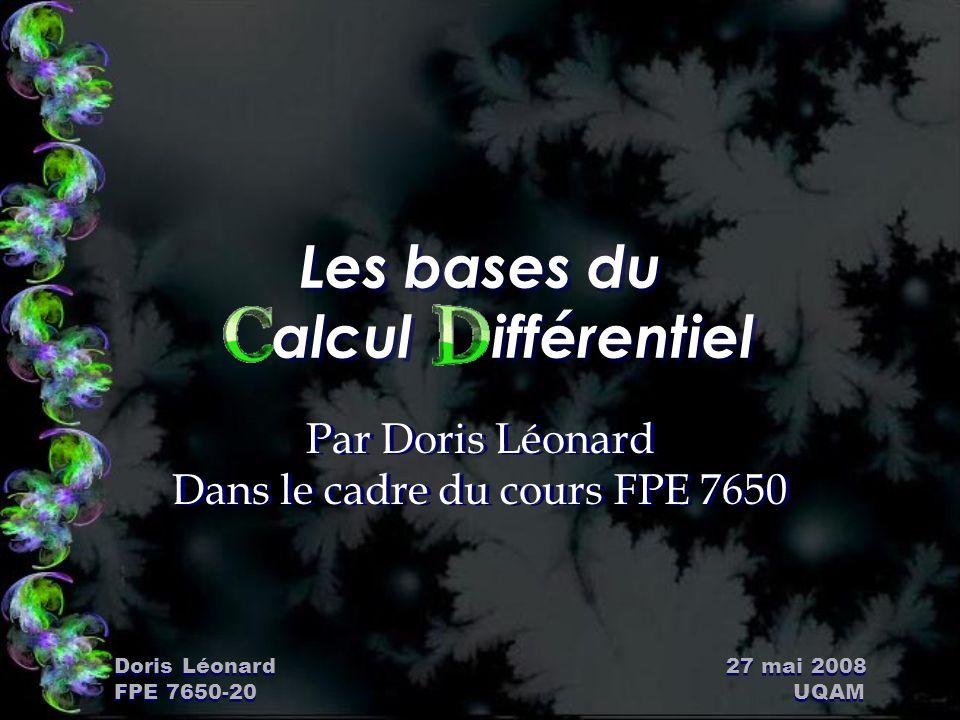 Doris Léonard 27 mai 2008 FPE 7650-20 UQAM Plan de la présentation Ñ ouvenirs: – Taux de variation moyen; – Taux de variation instantanée; – Dérivée (limite).
