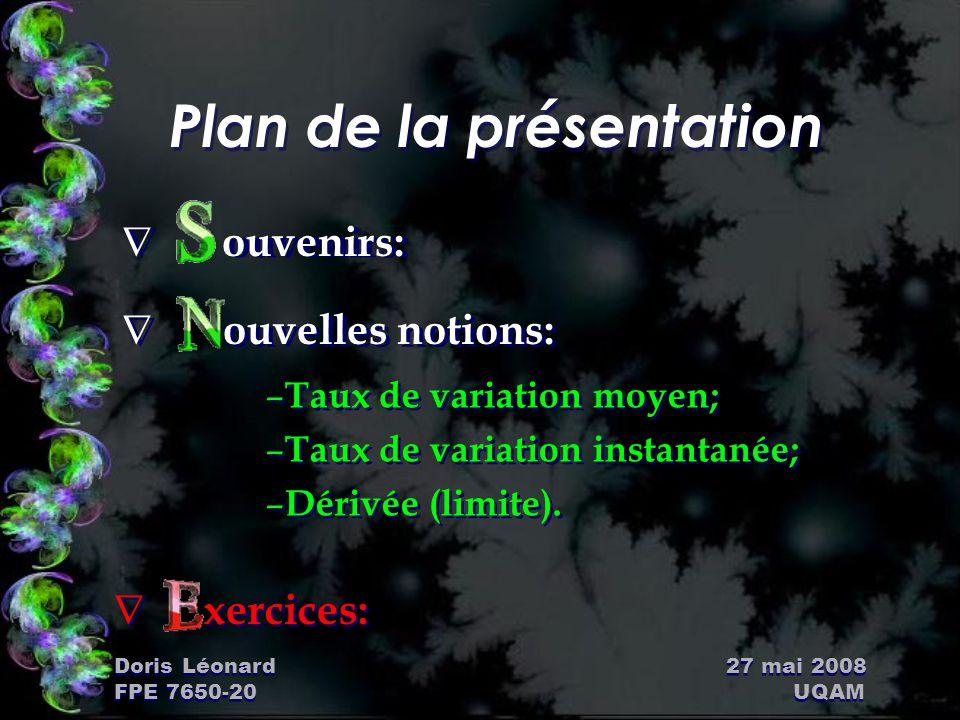 Doris Léonard 27 mai 2008 FPE 7650-20 UQAM Plan de la présentation Ñ ouvenirs: – Taux de variation moyen; – Taux de variation instantanée; – Dérivée (