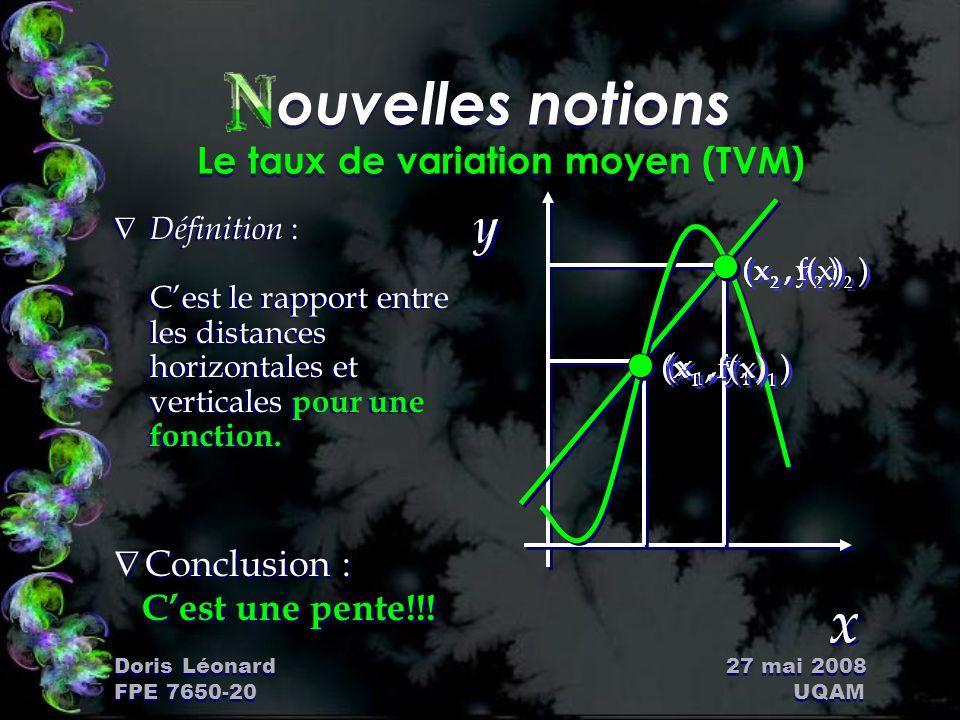 Doris Léonard 27 mai 2008 FPE 7650-20 UQAM ouvelles notions Le taux de variation moyen (TVM) Ñ Définition : C'est le rapport entre les distances horiz