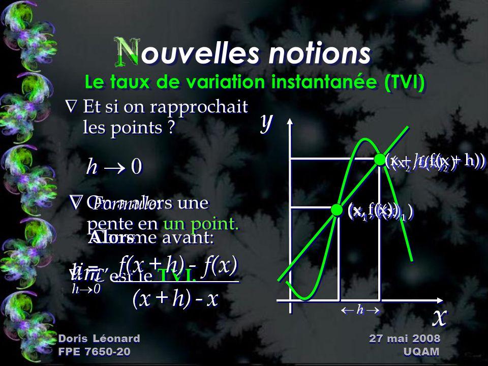 Doris Léonard 27 mai 2008 FPE 7650-20 UQAM ouvelles notions Le taux de variation instantanée (TVI) ÑEt si on rapprochait les points ? ÑOn a alors une