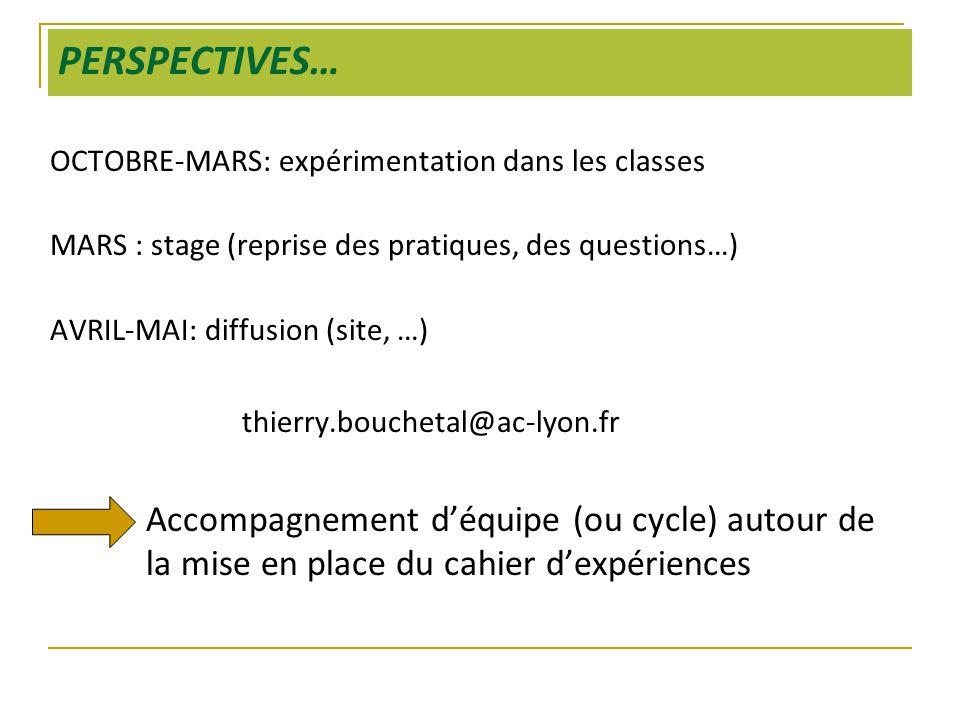 PERSPECTIVES… OCTOBRE-MARS: expérimentation dans les classes MARS : stage (reprise des pratiques, des questions…) AVRIL-MAI: diffusion (site, …) thier