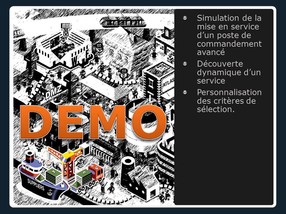 Simulation de la mise en service d'un poste de commandement avancé Découverte dynamique d'un service Personnalisation des critères de sélection.